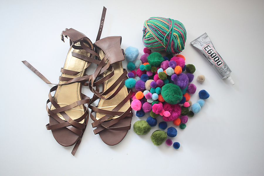 DIY: Wrapped & Pom Pom Sandals