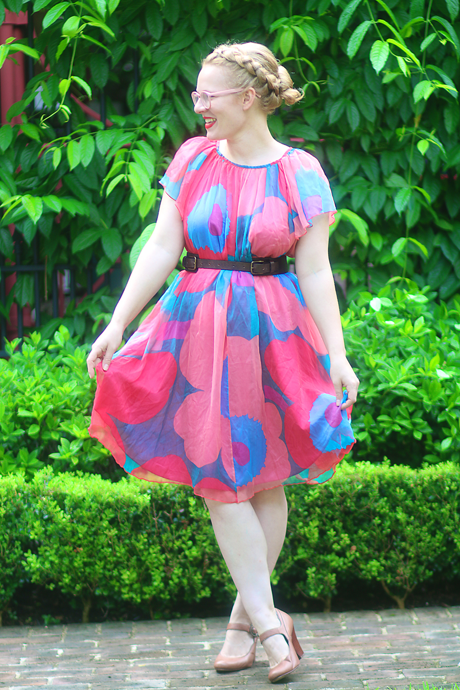 Fluttering Abstract Floral Dress