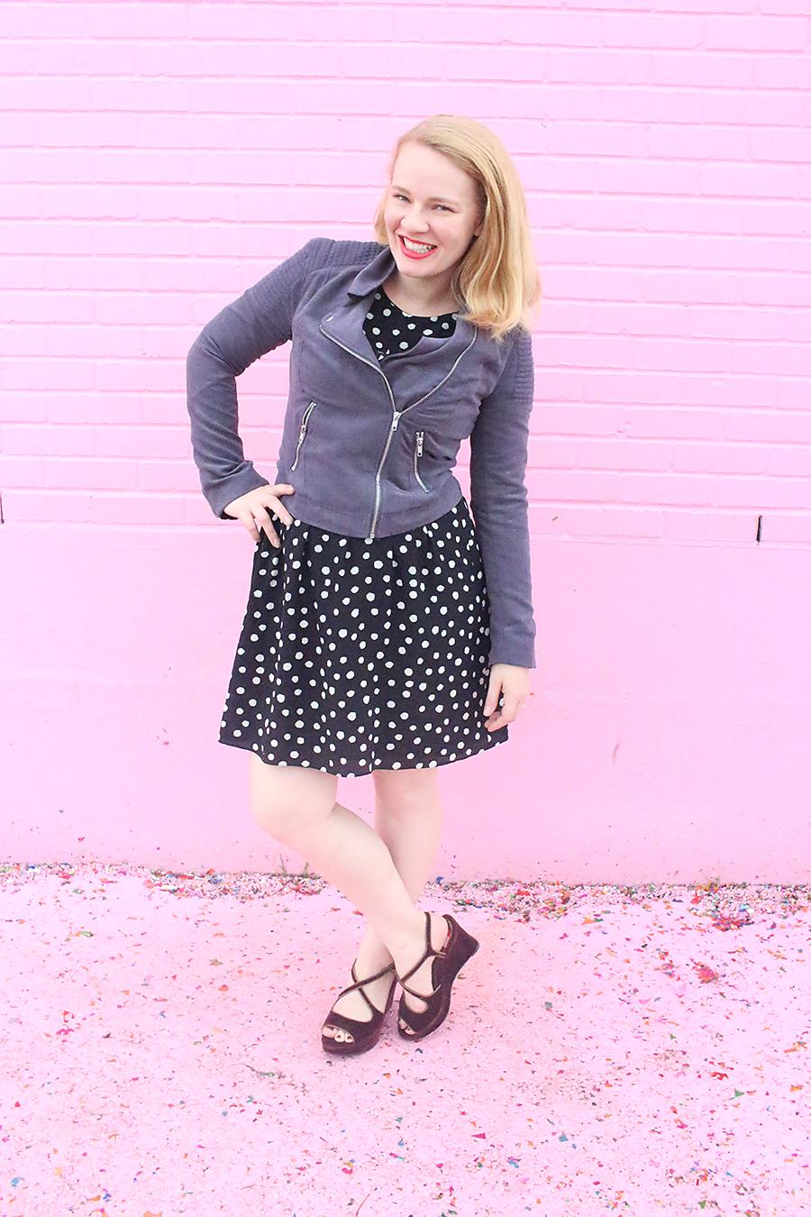 Fall Dress Transition | Polka Dots & Moto Jacket
