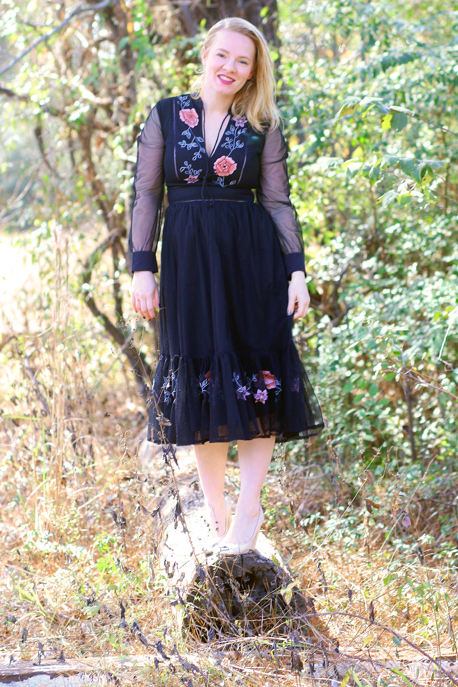 Embroidered Black Dress | eShakti Review