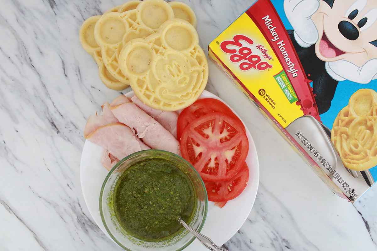 Easy Eggo Homestyle Waffle Pesto Panini