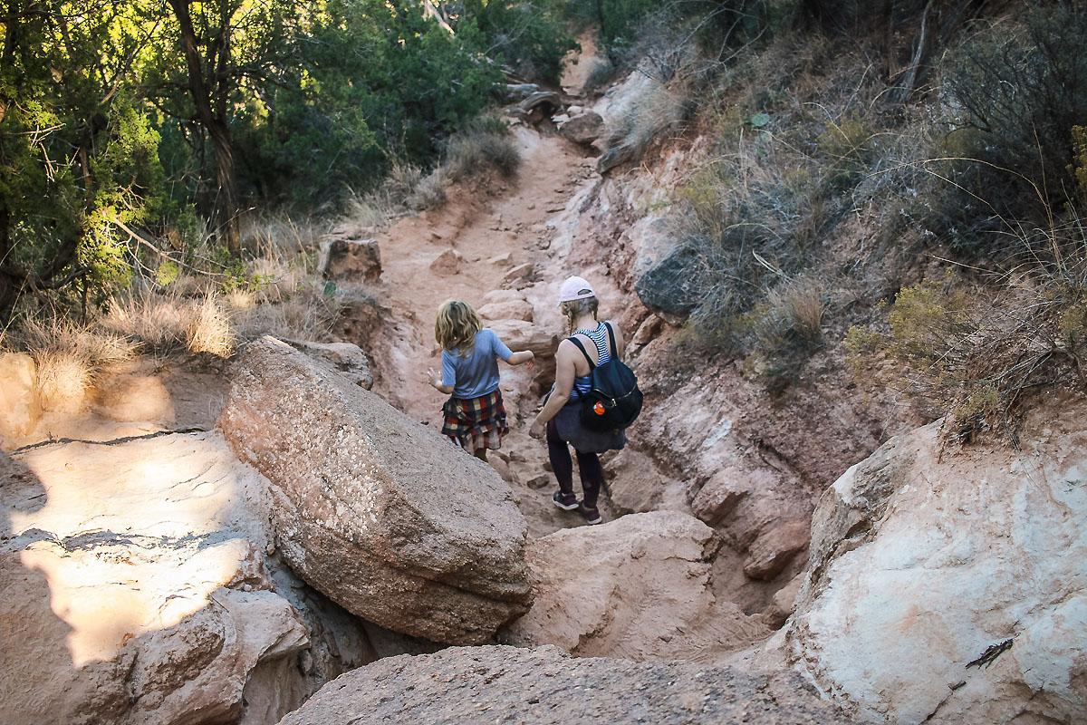 Family hiking in Amarillo, TX Palo Duro