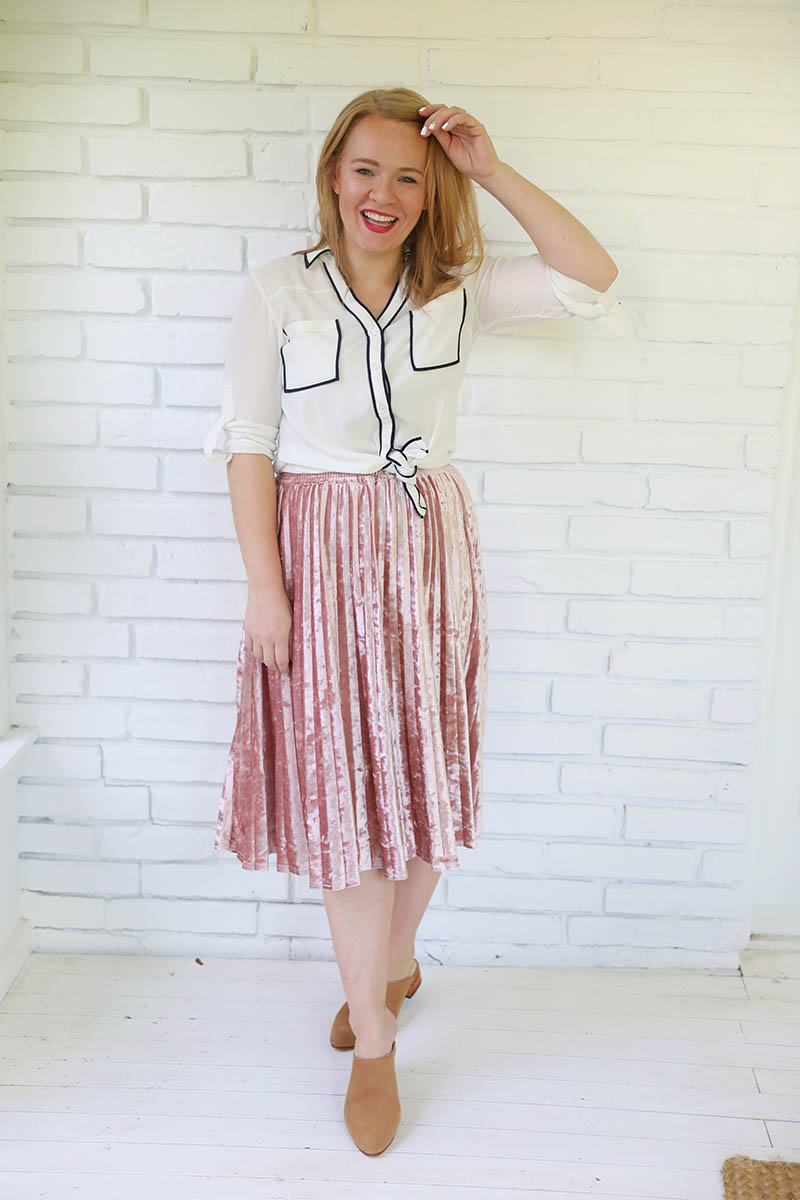 mules with midi skirt