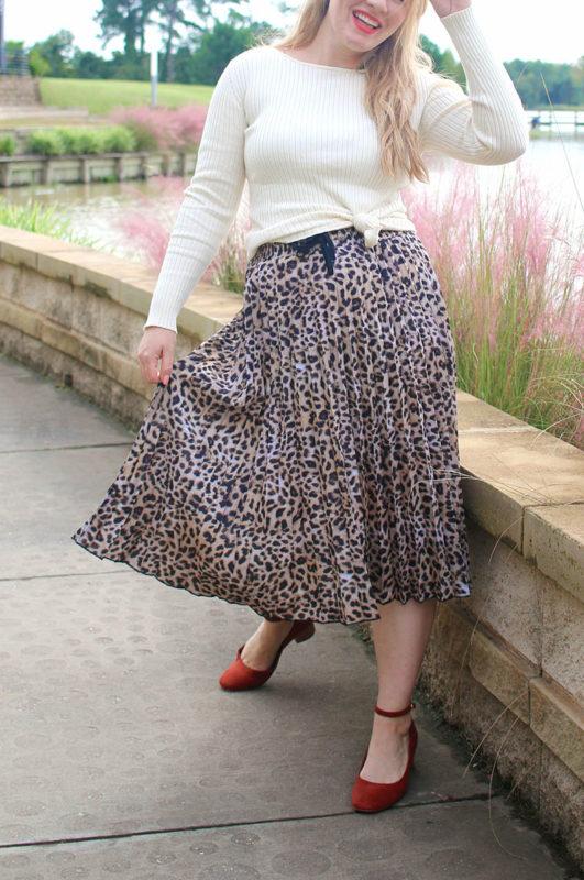 Styled: Pleated Leopard Midi Skirt