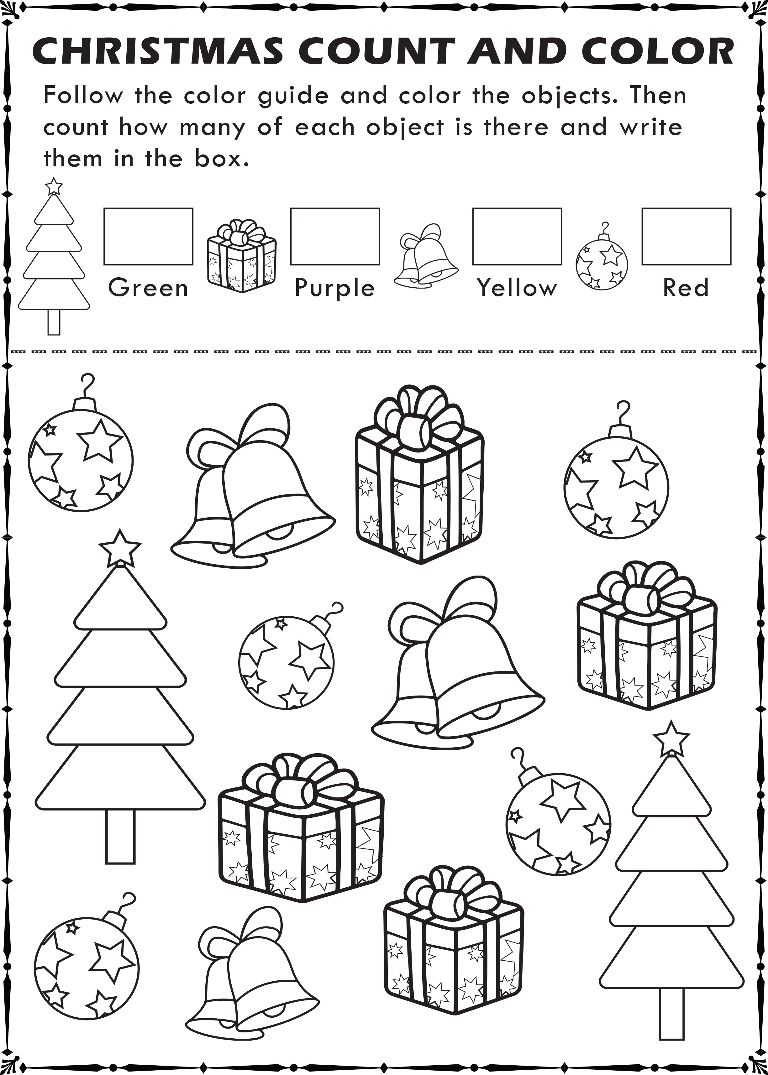 Free Printable Christmas I Spy Count And Color Activity Page For Kids